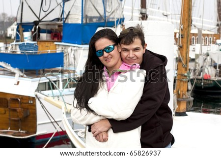 Young Couple in a Marina.