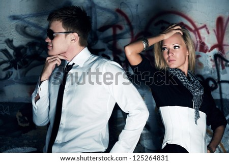 Young couple in conflict - stock photo
