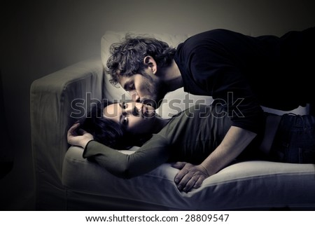 young couple in effusion - stock photo