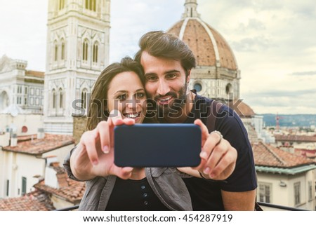 Young Couple In Front of the duomo. Florence