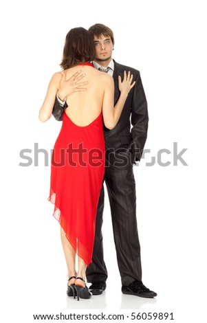young couple in love in an evening dress isolated on white - stock photo