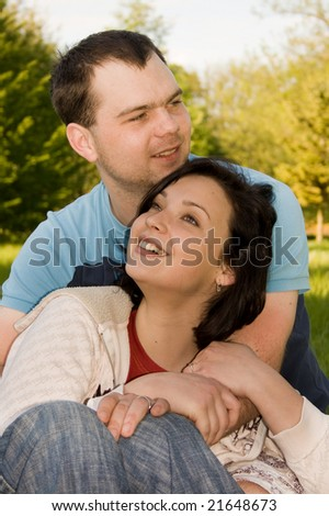 Young couple in love in the park