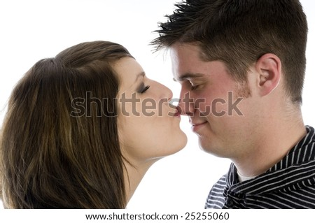 Young couple in love just goofing and having fun