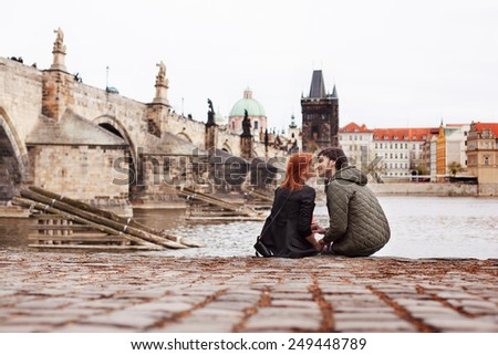 Young couple in love. Prague, Czech Republic - stock photo