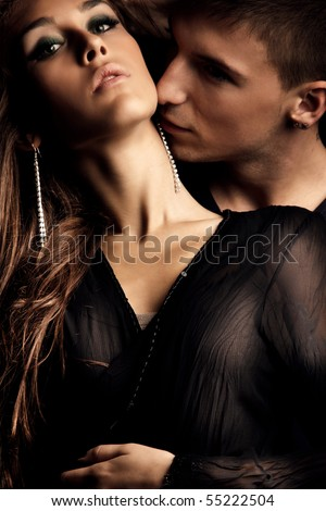 young couple in love  studio shot - stock photo