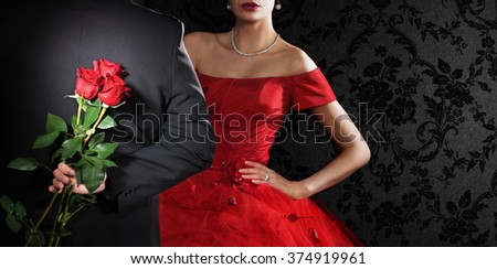 Young couple in love. Valentine's day concept. Space for text. - stock photo