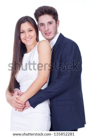 young couple in love, with white background - stock photo