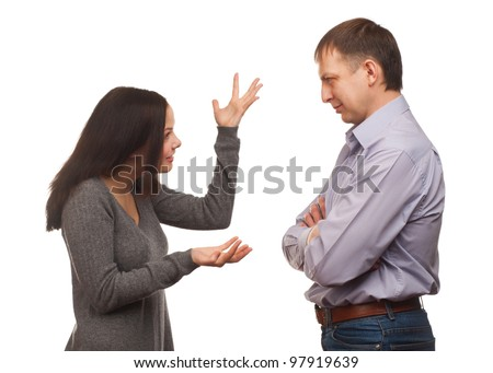 Young couple in quarrel. Wife scolding her husband, isolated on white background