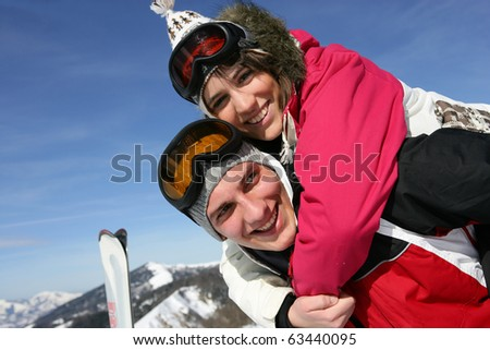 Young couple in snow