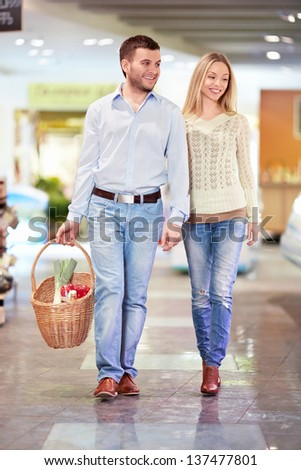 Young couple in the store - stock photo