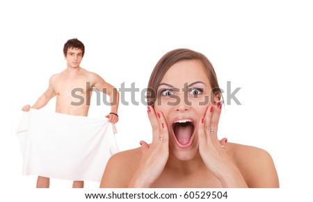 Young couple in towels isolated over white background - stock photo