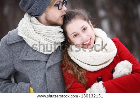 Young Couple in Winter Clothes - stock photo