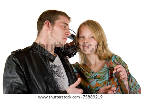 Young couple is listen to music - stock photo