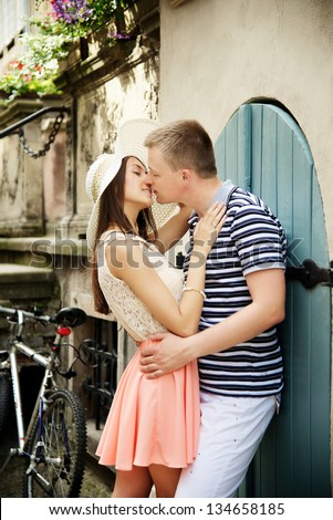 young couple love story - stock photo