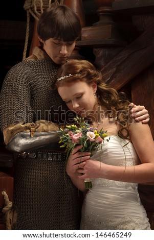 Young couple married,looking alike Romeo and Juliet - stock photo
