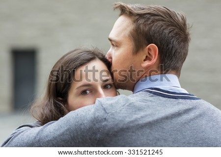 Young couple mourns because of parting - stock photo
