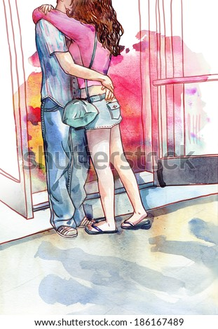 Young couple of lovers kissing and hugging each other. Watercolor illustration - stock photo