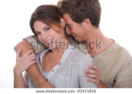 young couple of lovers laughing - stock photo