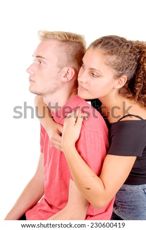 young couple of teenagers isolated in white