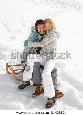 Young Couple On A Sled - stock photo