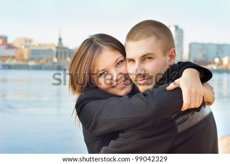 Young couple on a walk - stock photo
