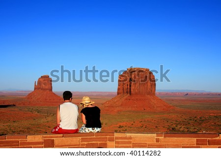 Young Couple on Date in the Monument Valley Tribal Navajo Park Arizona USA