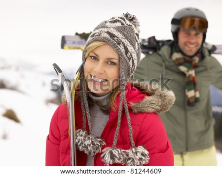 Young Couple On Ski Vacation - stock photo
