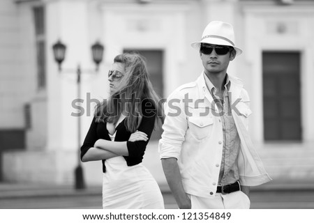 Young couple on the city street - stock photo