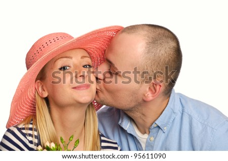 young couple on white background - stock photo