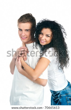 Young couple over white background - stock photo