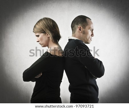 Young couple quarreling - stock photo