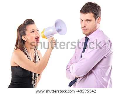 Young couple quarreling isolated against white background - stock photo