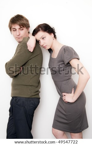 Young Couple Sad, they don't look one to each other - stock photo