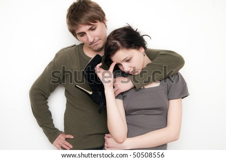 Young Couple Scene, melancholy - stock photo