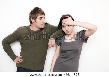Young Couple Scene, she have a head ache - stock photo