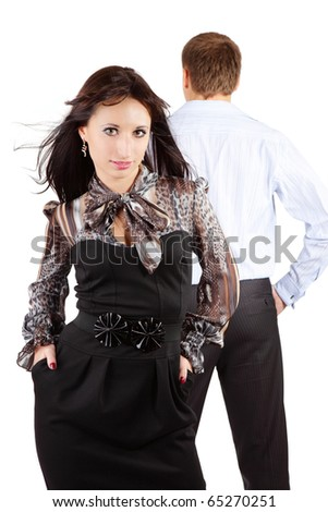 Young couple standing back to back having relationship difficult - stock photo