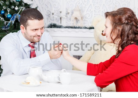 young couple, table, sitting, tea, drink