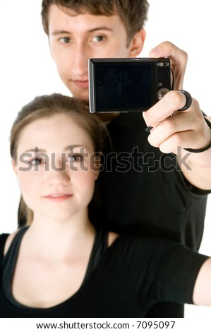 Young couple taking their picture