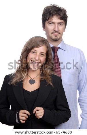 young couple together portrait isolated on white