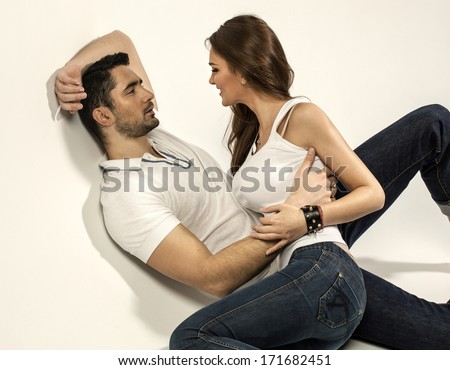 Young couple touching each other - stock photo