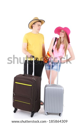 Young couple tourist isolated on white - stock photo