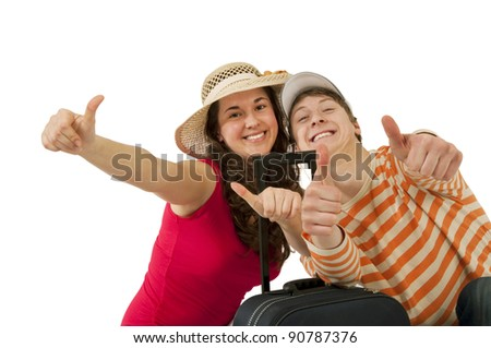 Young couple traveling