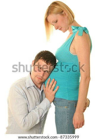 young couple waiting a baby - stock photo