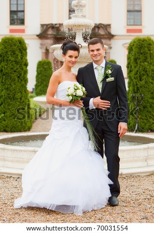 Young couple - wedding day