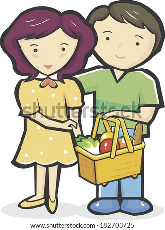 Young couple with basket full of grocery