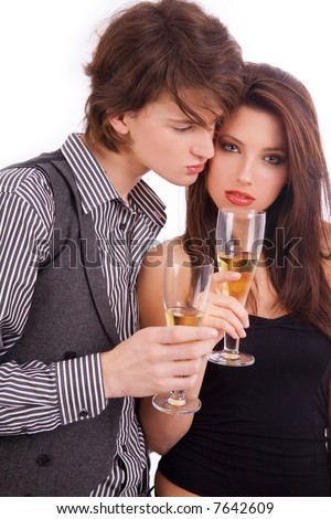 Young couple with champagne - stock photo