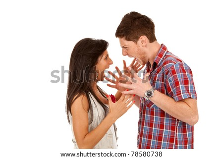 Young couple yelling at each other isolated on white