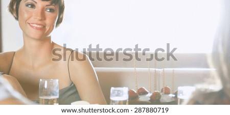 young couples at bar - stock photo