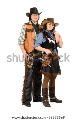 Young cowboy and cowgirl. Isolated on white background - stock photo