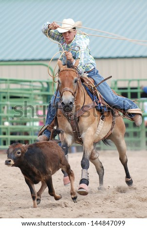 Young Cowboy competing in calf roping during a rodeo. - stock photo